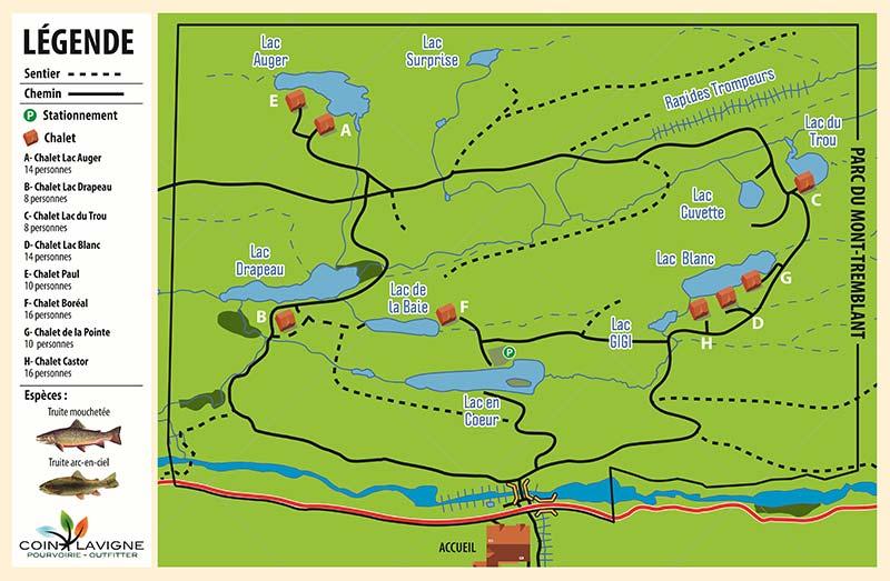 Pourvoirie Coin Lavigne - Mappe du territoire
